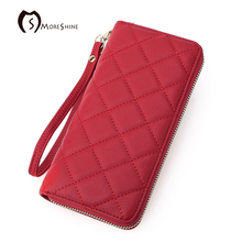MORESHINE Large Capacity Lady Party Fashion Long Purse Leather Women Wallets Female Clutch Wrist Bag quilted Card Holder Purse
