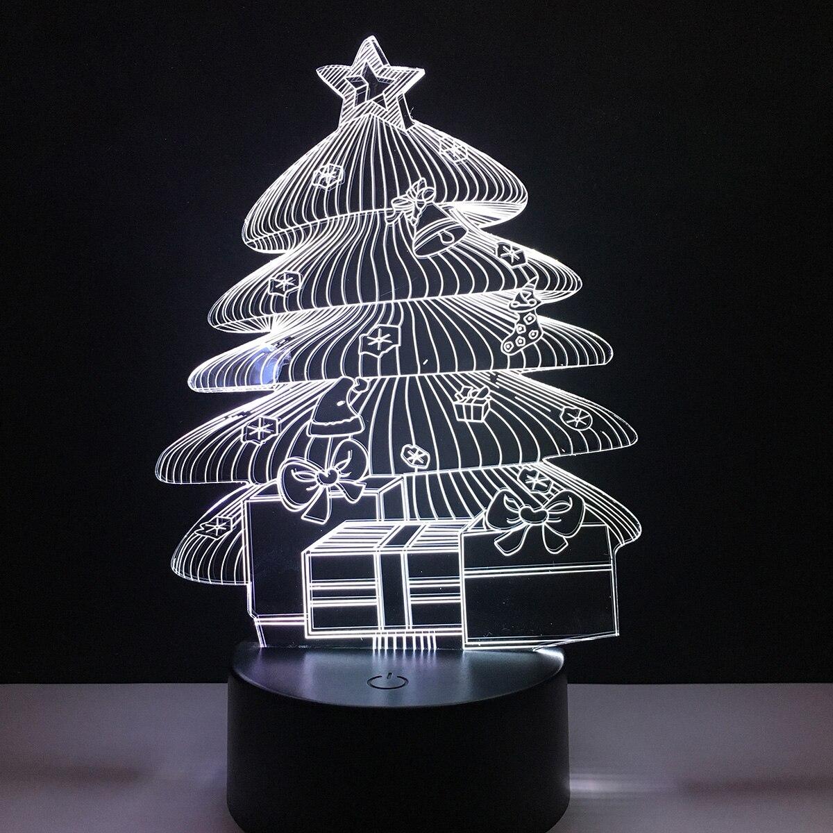 Christmas Tree 3D Holiday Light LED Lamp Home Room Decoracion 7 Colors Change Nightlight Kids Gift xmas gift series christmas decorations for home 3d lamp led night light luminaria santa claus tree snow man bear fish kids toys