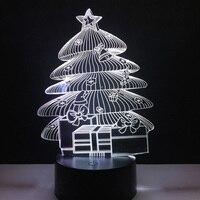 Nova Luz Do Feriado Da Árvore De Natal 3D CONDUZIU a Lâmpada Sala de Casa Decoracion 7 Cores Mudança Nightlight Caçoa o Presente