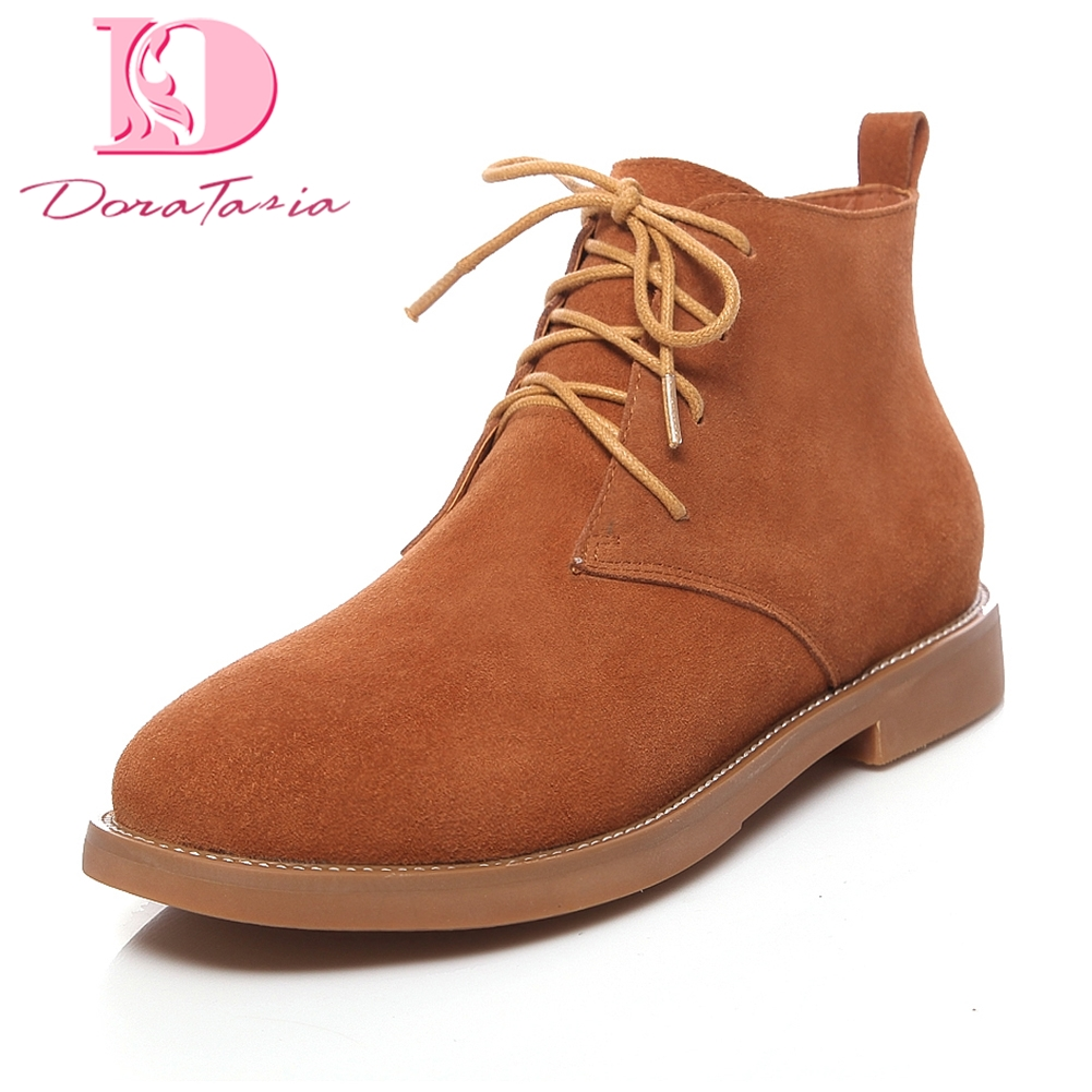 Doratasia brand new plus Size 33-43 Lace Up cow suede leather Hot Sale Ankle Boots Women leisure Footwear Shoes Woman Booties hot sale womens pu leather shoes lace up rivet metal decoration punk style prom ankle boots for women casual footwear plus size