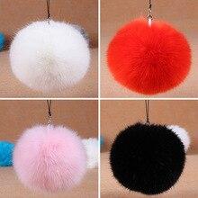 Fashion Fluffy Rabbit Fur Pom Pom Ball Keychain Women Trinket Bag Phone Key Chain Ring Car Key Holder Accessories Souvenirs Gift
