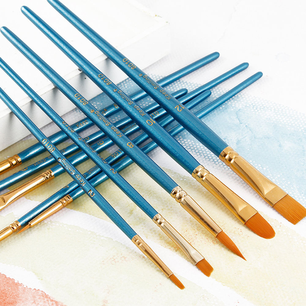New Professional 10 Pcs Paint By Number Brushes Wooden Handle Synthetic Paint Brush Set For Model Building Art Brush Supplies