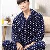 2017 New Men S Pajamas Set Sleepwear Warm Flannel Plaid Stripped Printing Men Sleeping Wear Lounge