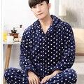 2017 Новый мужская Пижамы Установить Пижамы Теплый Фланель Плед Раздели Печати Мужчины Спальные Износа Отдыха Пижамы Домашней Одежды Ночные Рубашки 267