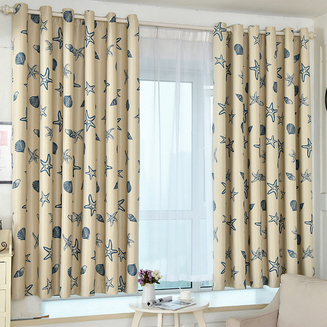 Window Curtain Blackout Sea Blinds Polyester Fabric Shell Starfish Woven For Home Decor Living Room