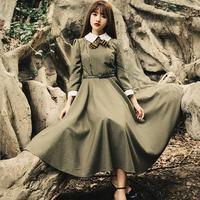 Hot Sale 2016 High Quality Spring New College Style Retro Vintage Theatrical Gentle Big Swing Dress