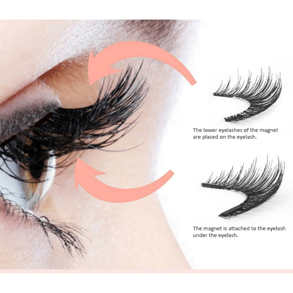 Beauty Magnetic eyelashes with 3 magnets handmade 3D/6D magnetic natural false eyelashes magnet lashes with box 52HB-3