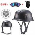 Бесплатная доставка Черный Взрослый Открытый лицевой половина кожаный шлем мото мотоциклетный шлем винтажный мотоциклетный мотоцикл