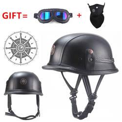 Бесплатная доставка Черный взрослый с открытым лицом Половина кожаный шлем мото мотоциклетный шлем винтажный мотоцикл