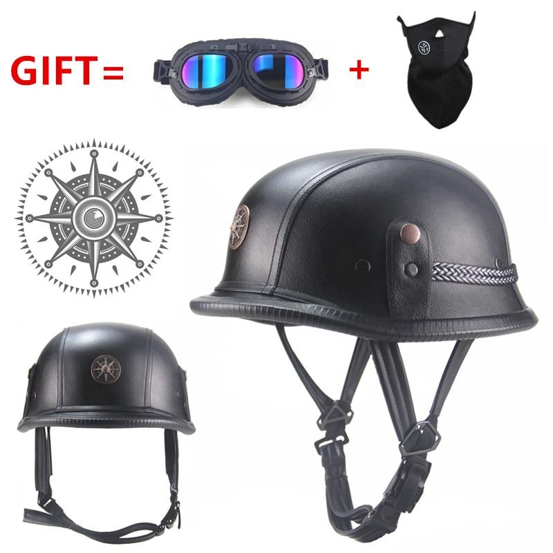 FREE SHIPPING Black Adult Open Face Half Leather Helmet Moto Motorcycle Helmet vintage Motorcycle Motorbike