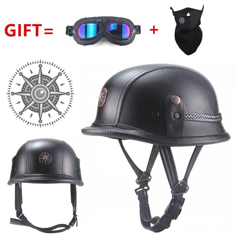 Frete grátis preto adulto aberto rosto meio capacete de couro moto capacete da motocicleta do vintage moto
