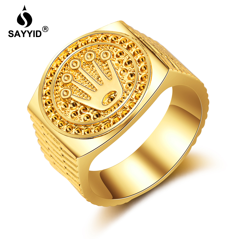 SAYYID Jewelry Brand New Design Crown Ring for <font><b>Men's</b></font> Hip Hop/Rock Plating yellow gold color Ring Gift in Stock image
