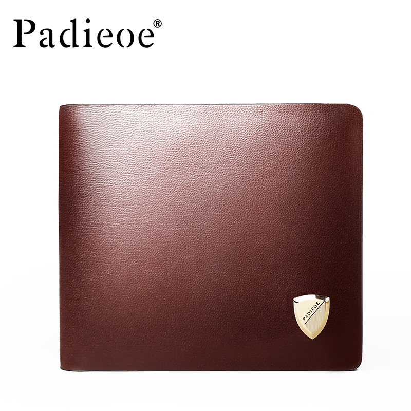 PADIEOE 2017 Luxury Brand Men Wallets Genuine Leather Male Purses Fashion Clutch Wallets New Designer Short Purse Card Holder padieoe luxury brand men wallets genuine leather male business oil cow leather trifold purse