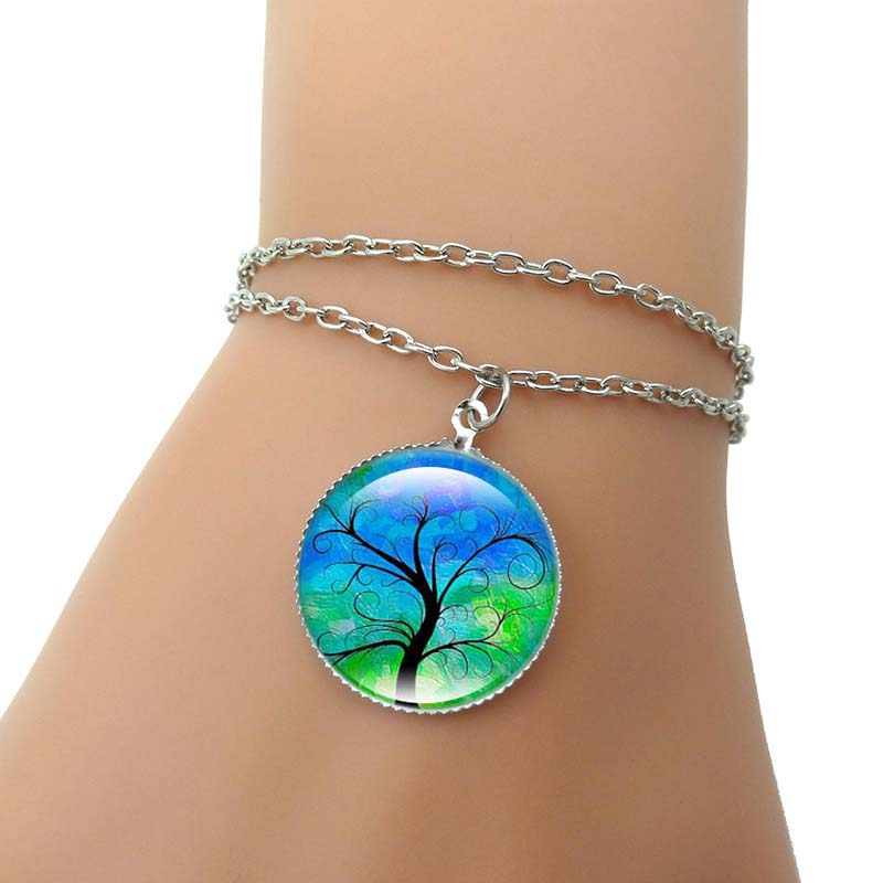 Multilayer Charm Bracelet Tree of Life Handcrafted Art Glass Cabochon Fashion Jewelry Silver Chain Bracelets for Women Gift