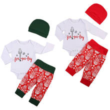 f78b47e8b22ea Pudcoco Christmas Newborn Infant Baby Girl Boy Xmas Outfits Clothes  Bodysuit+Pants+Red or Green Hat 3Pcs Set 0-18M
