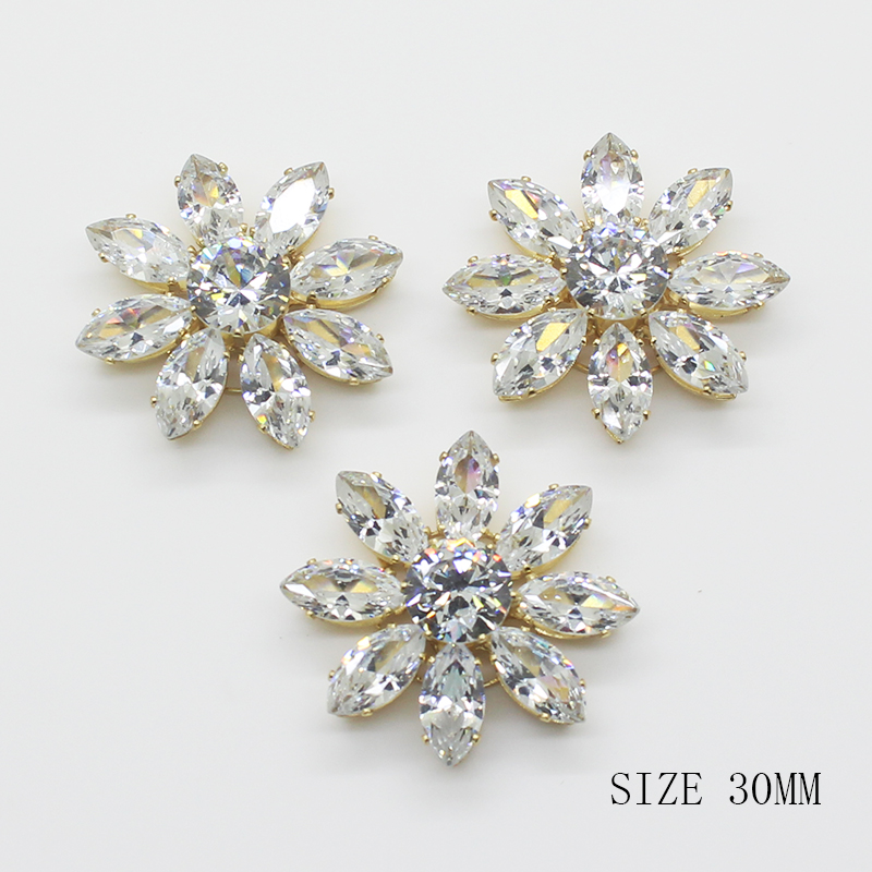 ZMASEY New Zircon <font><b>Buttons</b></font> 2Pcs/Lot <font><b>30mm</b></font> Flower <font><b>Button</b></font> Gold Handwork Accessories Festival Decor Diameter Supplies For Wholesale image