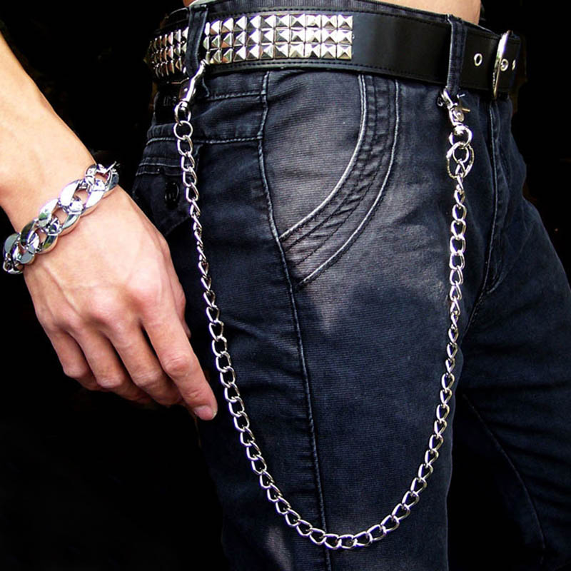 Fashion Punk Hip-hop Alloy Chain on jeans Trendy Male Metal Chain on pants Man or Women Jeans Clothing Accessories Chain   Belt