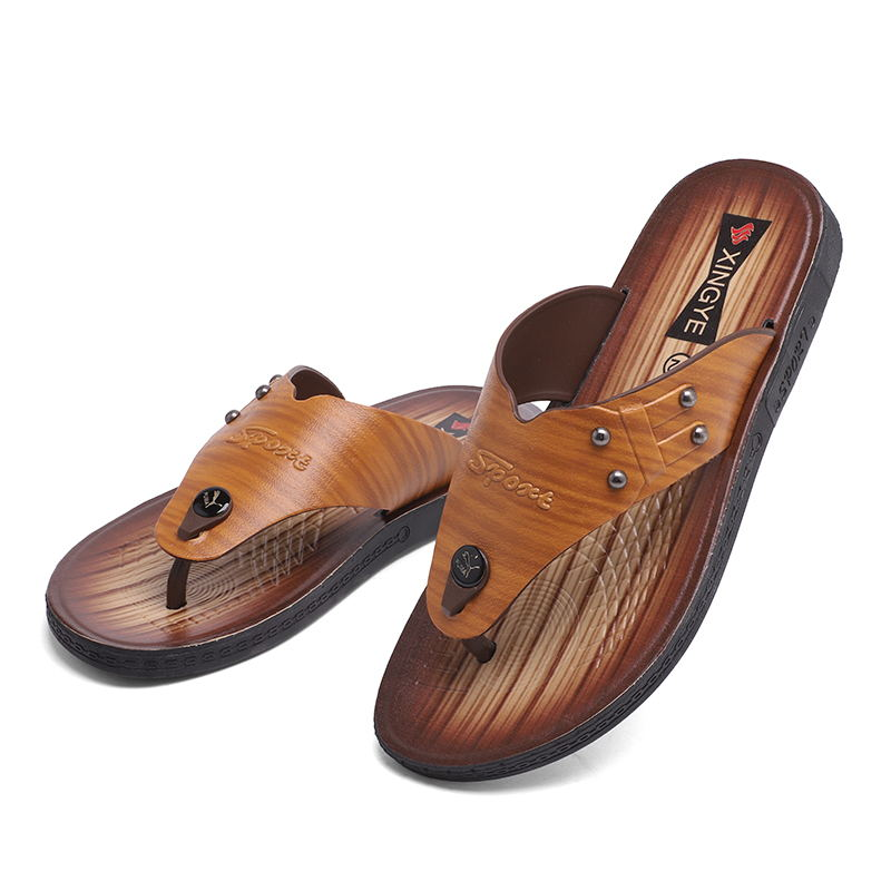 LAISUMK Luxury Brand New Men 39 s Flip Flops Hight Quality Leather Slippers Summer Fashion Beach Sandals Shoes For Men in Flip Flops from Shoes