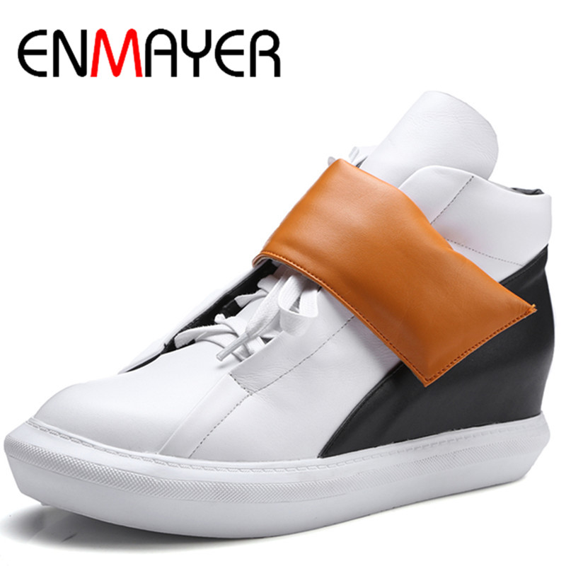 ФОТО ENMAYER White Shoes Woman Low Heels Round Toe Hook Ankle Boots for Women Platform Shoes Size 34-39 Spring &Autumn Casual Shoes