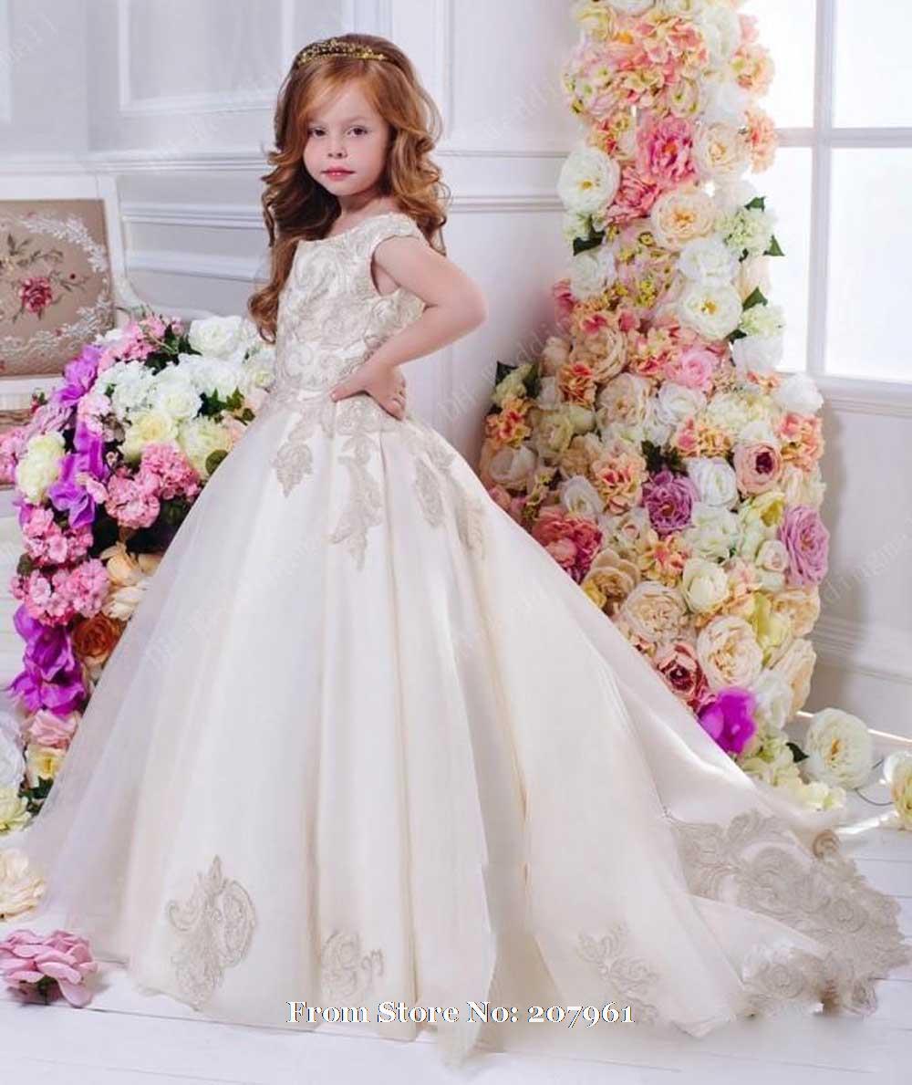 2016 romantic champagne flower girl dress for weddings for Dresses for girls for wedding