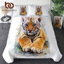 Beddingoutlet tigre conjunto de cama do bebê rei aquarela colcha capa animal selvagem têxteis para casa preto branco roupas luxo conjunto