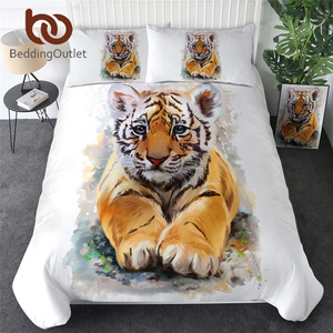 Image 1 - Parure de lit tigre, sortie de lit, pour bébé King, avec housse de couette, animaux sauvages, Textiles domestiques, noir et blanc