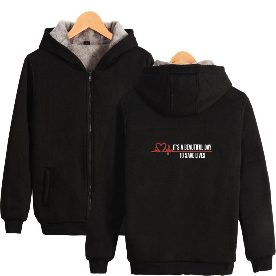 Grey's Anatomy Hoodies Cool Winter Thick Zipper Hoodies Letter Print Men/women Hoodies And Sweatshirts Sportswear XXS To 4XL