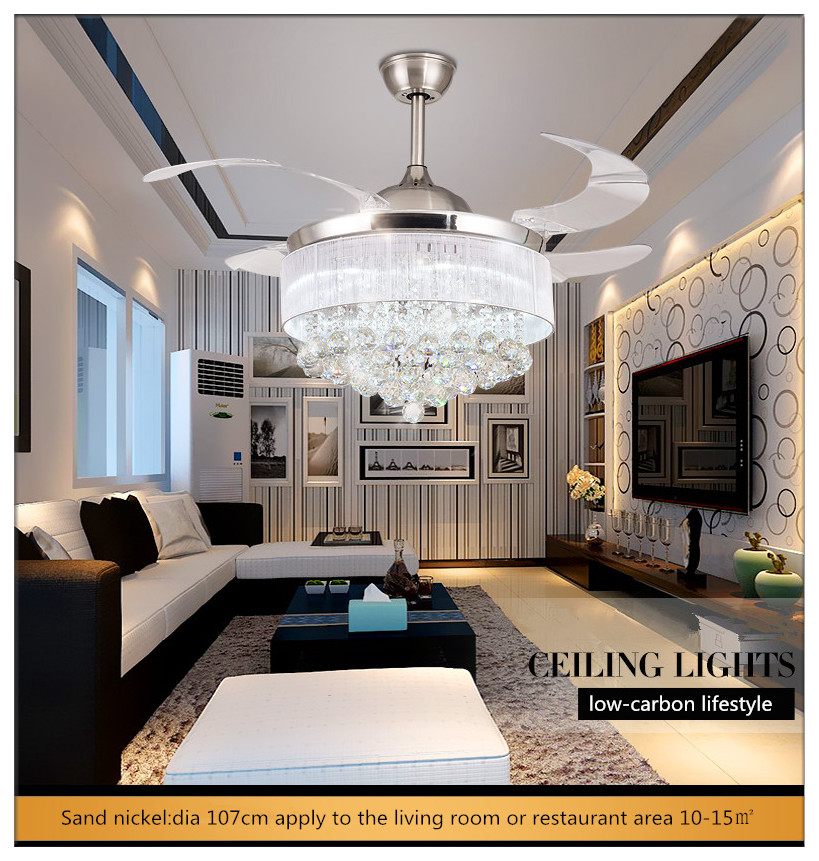 Modern European Elegant Crystal Round Shaped LED Ceiling <font><b>Fan</b></font> Lights with Foldable Invisible Blades