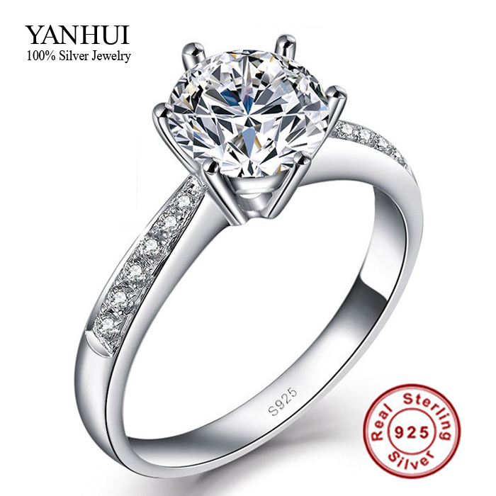 קידום YANHUI גרסה מקורית של תכשיטים 100% 925 טבעות כסף סטרלינג לנשים יוקרה 1 קרט CZ טבעת אירוסין JZR031 דיאמנט