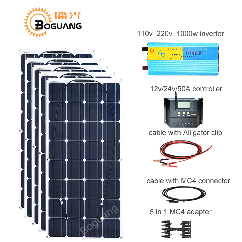 Boguang 100w solar panel 50A controller cable MC4 connector adapter 500w solar DIY kit system for 12v battery RV yacht car power boguang portable solar panel kit 100w diy rv boat solar plate system flexible solar panel controller cable outdoor light led