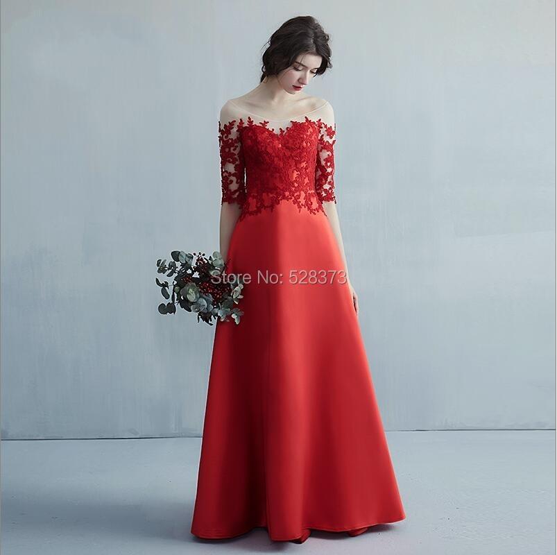 YNQNFS BD39 Elegant A-line Satin Illusion Neck Cut-out Backless Half Sleeves   Bridesmaid     Dresses   Long Custom Made