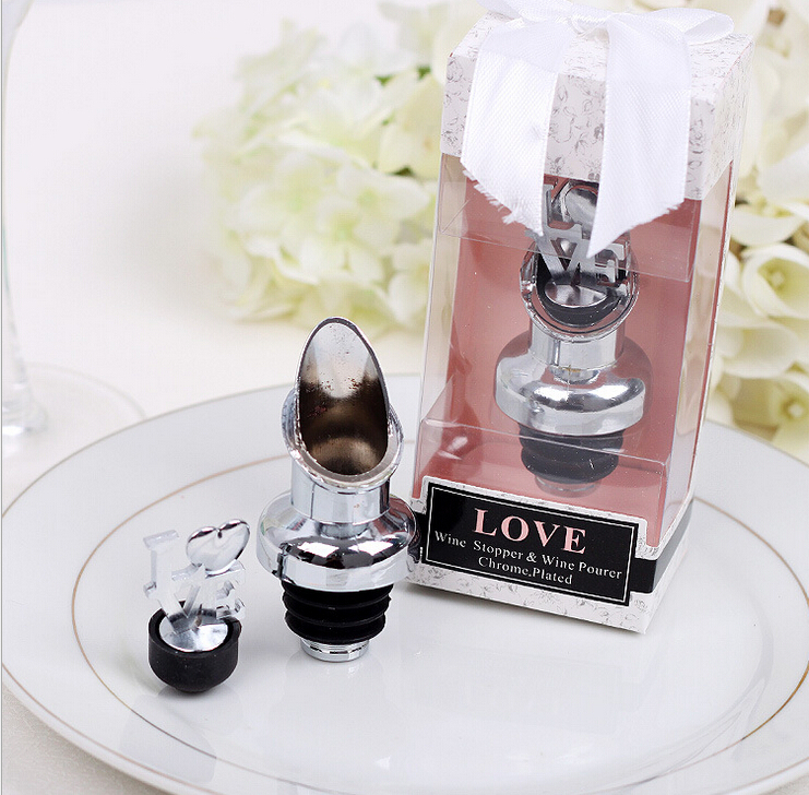 Aliexpress.com  Buy Free shipping Silver Wedding door gift of  LOVE  Chrome Wine Pourer and Bottle Stopper Party favors 50PCS/LOT from Reliable gift gifts ... & Aliexpress.com : Buy Free shipping Silver Wedding door gift of ... pezcame.com