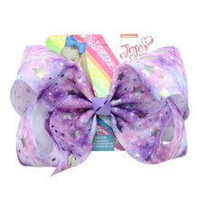 8 Party Bows With Clip Print Grosgrain Ribbon Large Hair Hairgrips Kids Clips For Girls Accessoires