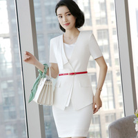 2018 Summer Sets For Wemen Short Sleeve Suit Slim Waist Ladies Business Fair Temperament Career V Neck Blazers + Skirt