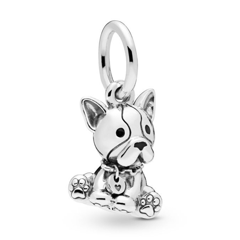 925 Sterling Silber Diy Schmuck Bulldog Welpen Baumeln Charme Tier Anhänger Bead Fit Pandora Armband Armreif Reich Und PräChtig