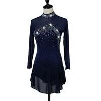 Фигурное катание платье Для женщин девушки Катание на коньках темно синий Аквамарин спандекс со стразами и пайетками высокая эластичность