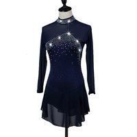 Figure Skating Dress Women's Girl's Ice Skating Dark Blue Aquamarine Spandex Rhinestone Sequined High Elasticity Performance