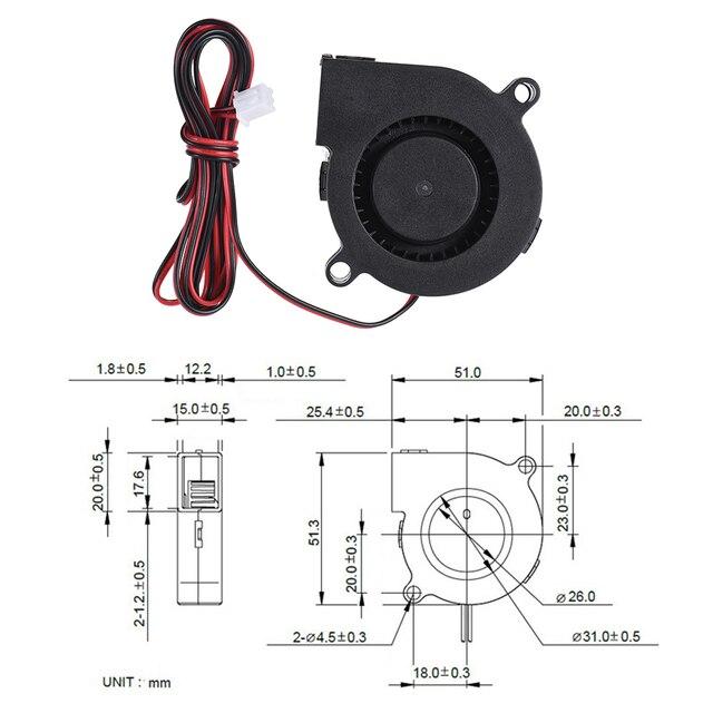 Anet A8 A6 5015/4010 dmuchawa powietrza 12V 24V wyjątkowo ciche łożysko olejowe około 7500 obr./min Turbo mały wentylator do MakerBot RepRap UP Mendel I3