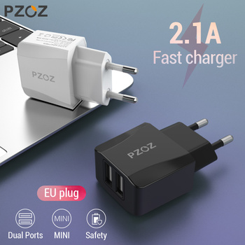 PZOZ Dual USB Charger 2a Fast Charging Travel EU Plug Adapter portable Wall charger Mobile Phone cable For iphone Samsung xiaomi