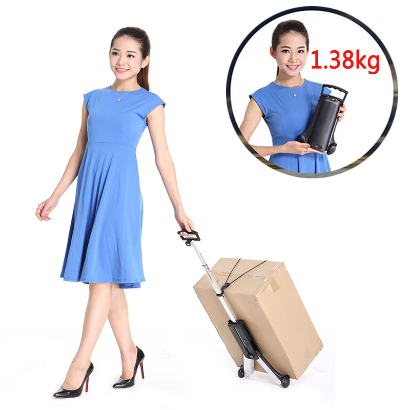 Brand Ultra-light Aluminum Alloy Trolley Cart Portable Mute Wear-resistant Folding Luggage Cart Mini Shopping Cart 1.38kg