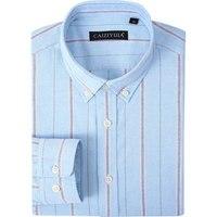 Men S Wide Striped Oxford Long Sleeve Shirt Regular Cuff Premium 100 Cotton Slim Fit Button