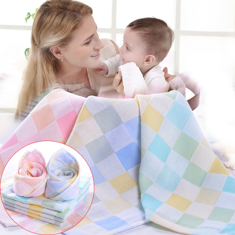 Baby Cotton Bibs Soft Checkered Towel Kids Feeding Washcloth Small Square ...