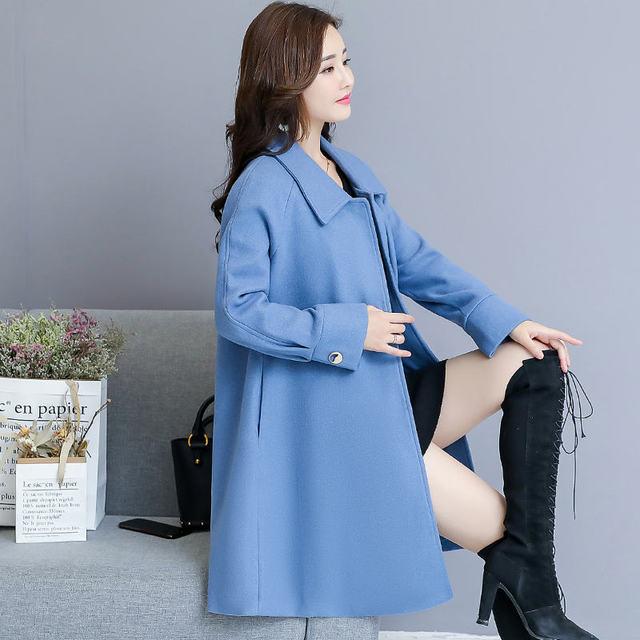 Woolen Coat Women Autumn Winter Cloak Style Long Wool Coat Plus Size Warm Parka Overcoat Blue Red Women Coat Abrigos Mujer C4839 1
