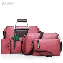 Woman Bag 4 Sets Fashion PU Leather Handbag High Quality Compound Messenger Bags For Girl Shoulder