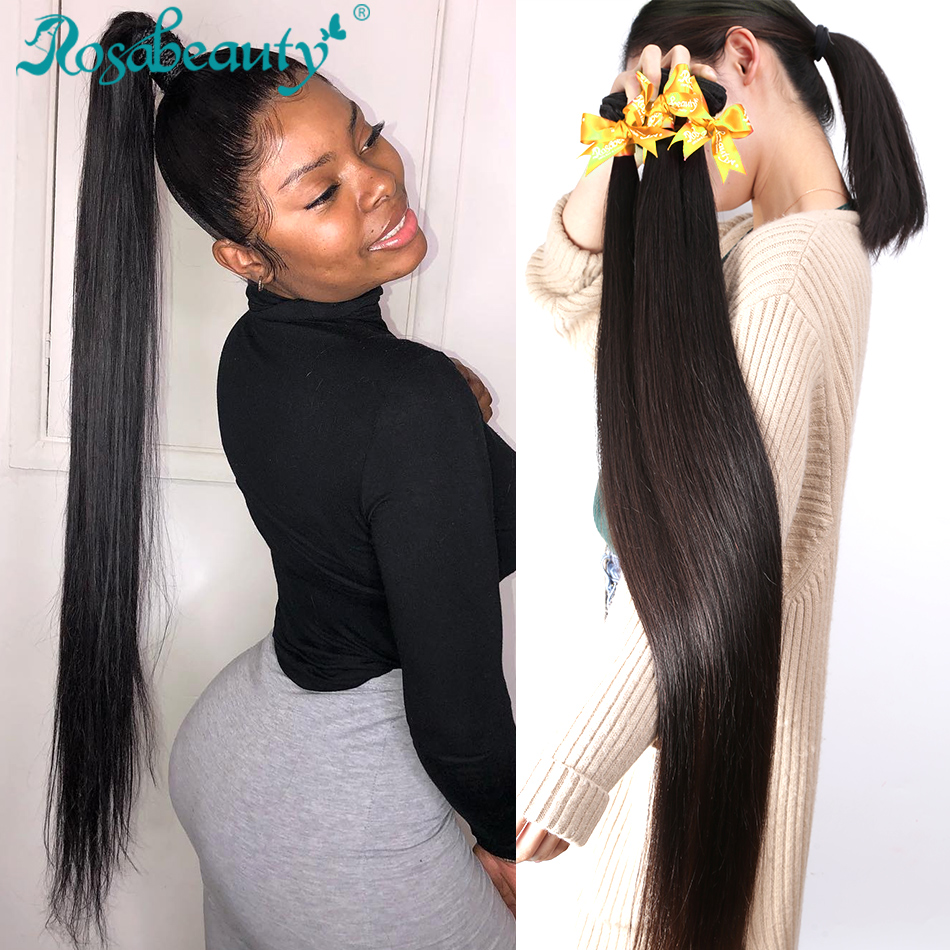 Rosa Beauty 8- 40 Natural Color Straight Brazilian Remy Hair Weave 28 30 32 34 Inch Double Drawn Human Hair Weft 3 4 Bundles