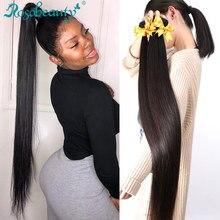 Rosabeauty – tissage de cheveux brésiliens naturels Remy lisses, couleur naturelle, Double trame, 28 30 40 pouces, lots de 3 4