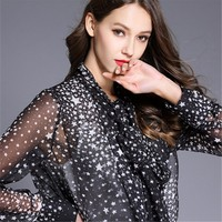 2018 Euramerican Spring Summer New Fashion Tie Five Point Star Spot Print Bow Polyester Chiffon Casual