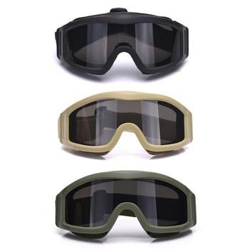 258972764a Gafas tácticas reflectante Camping ciclismo protector S67 gafas protectoras  ojo a prueba de polvo con 3 lentes para juego CS seguridad Airsoft