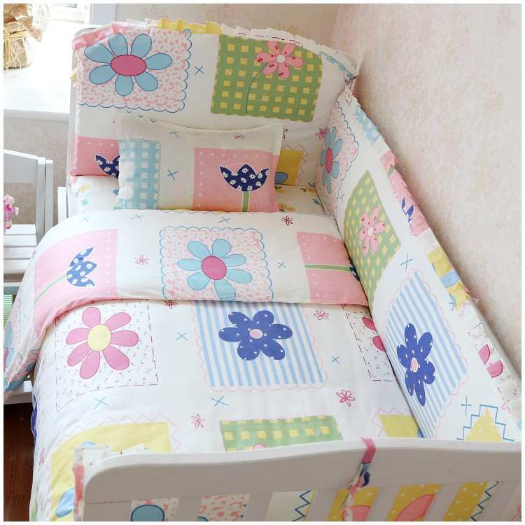 Promotion! 6/7PCS Baby Boy Crib Bedding Sets Crib Cot Cradle Bedlinen 120*60/120*70cm