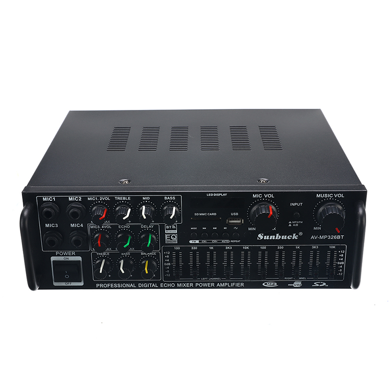 2000W 110V 2 Channel Equalizer Bluetooth Home Stereo Power Amplifier USB Car Amplifier Home Theater Amplifiers Audio